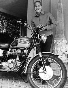 Paul Newman and his Triumph motorcycle by David Sutton, c.1965