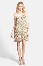 Taylor & Sage Floral Print Lace Yoke Pleated Chiffon Shift Dress