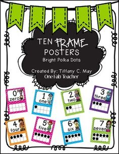 Ten frame posters are a great resource to have in the classroom. I use them all the time. This set includes numbers 0-20 in bright polka dot colors. Each poster includes the number along with the ten frame, and the number in word form.((HUGS))Tiffany C.