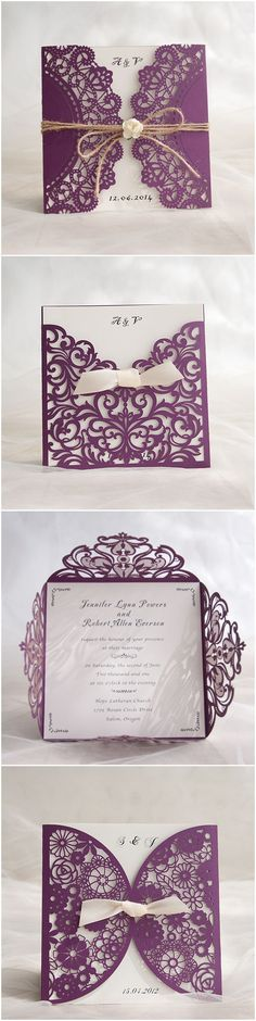 Purple Themed Chic Rustic DIY Laser Cut Wedding Invitations