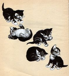 """From """"Trouble the Careless Kitten"""", written by David M. Stearns, illustrated by Sharon Stearns; Pretty Cats, Cute Cats, Simple Cat Drawing, Black Cat Painting, Japanese Cat, Cute Cartoon Drawings, Halloween Illustration, Cat Photography, Vintage Cat"""