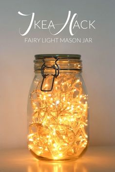 nice IKEA Hack | Fairy Light Mason Jar by http://www.cool-homedecorideas.xyz/bedroom-designs/ikea-hack-fairy-light-mason-jar/