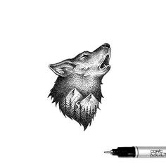 Double Exposure - The delicate illustrations by Thiago Bianchini pics) Dotted Drawings, Pencil Art Drawings, Cool Art Drawings, Animal Drawings, Native Tattoos, Wolf Tattoos, Stippling Art, Wolf Illustration, Wolf Tattoo Design