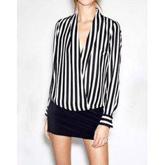 $10.22 Women's Stripe Irregular Hem Loose-Fitting Long Sleeves Chiffon Blouse