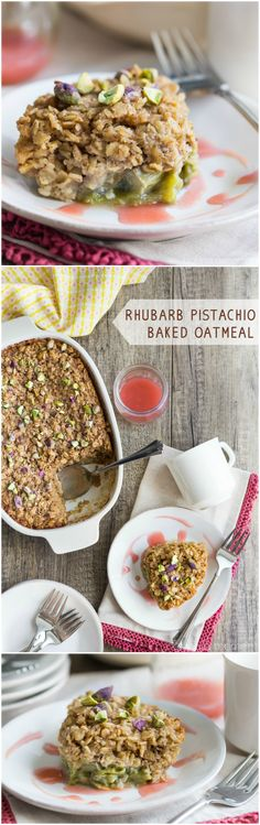 Rhubarb Pistachio Baked Oatmeal: Perfect for a Spring brunch!  food breakfast oatmeal
