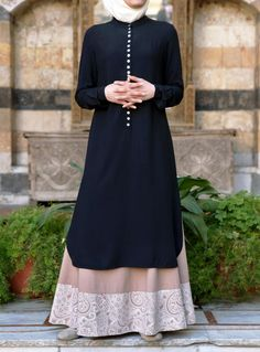 Gorgeous Button Detailing and love the length! From SHUKR | Mother of Pearl Button Tunic
