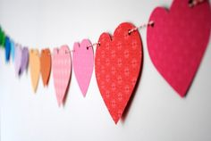 Paper heart bunting ~ in rainbow colors...