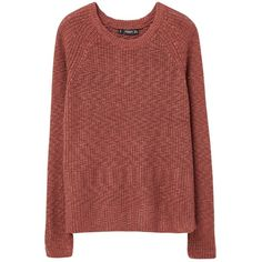 Mango Stripe Textured Jumper, Dark Red ($29) ❤ liked on Polyvore featuring tops, sweaters, long sleeve jumper, red stripe sweater, long red sweater, round top and long sleeve sweaters
