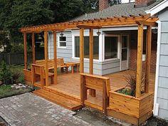 Cedar deck and pergola - Fine Homebuilding Deck Planter Boxes, Fence Planters, Deck Seating, Deck Benches, Garden Seating, Cedar Deck, Cedar Box, Deck With Pergola, Low Deck