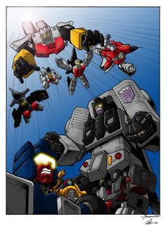 Stunticons Vs Aerialbots (coloured version) by ~Whelljeck on deviantART