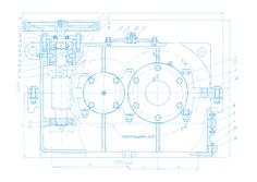 Vector background of abstract engineering drawing. Tech documentation of detail reducer project. Blueprint design.