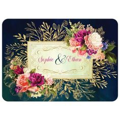 This bold Victorian florals wedding invitation exudes old world charm and style with a dramatic color scheme in deep teal blue, navy blue, and Hunter green watercolors background. Set on top of the rich dark colors are several layers of gold tone greenery Taupe Wedding, Wedding Colors, Wedding Flowers, Bouquet Wedding, Dream Wedding, Wedding Response Cards, Wedding Cards, Wedding Rsvp, Navy And Green