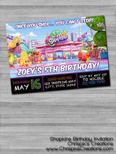 Shopkins Birthday Invitation #Shopkins #birthday #invitation #invite #personalized #custom #etsy #ChrispixsCreations