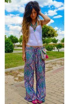 pants floaty pants pattern hippie boho