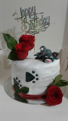 Torta gatito con rosas