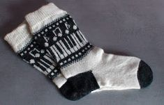"""Knitted socks, music pattern """"Music on your feet"""" I had long time ago to do the socks with music marks: notes, piano etc. Crochet Patterns For Beginners, Knitting Patterns, Free Crochet, Knit Crochet, Chunky Twists, Knitting Socks, Knit Socks, Fingerless Mitts, Learn How To Knit"""