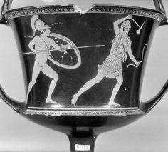 Pottery: red-figured kantharos: Theseus and Antiope; Phorbas and an Amazon.