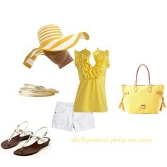 sooo cute! yellow is my new favorite color!!   Outfit, created by shellyontour on Polyvore