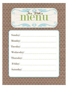 printable menus - frame and change menu each week with dry erase markers