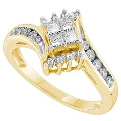 0.49 Carat (ctw) 14K Yellow Gold Princess And Round White Diamond Ladies Invisible Engagement Ring 1/2 CT. Crafted in 14K Yellow-gold. Diamond Color / Clarity : H-I / I1-I2. Diamond Weight : 0.49 ct tw. Weights approximately 3.10 grams. Gemstone : Diamond.