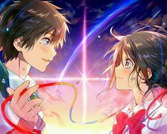 君の名は。 Kimi no Na wa Kimi No Na Wa, Film Manga, Manga Anime, Anime Love, Mitsuha And Taki, The Garden Of Words, Your Name Anime, Pelo Anime, Beaux Couples