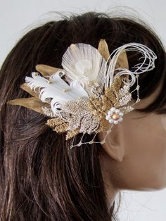 Gold Pheasant Peacock Feathers Bridal Fascinator called Cia, £33.00 from www.dress-2-impress.com
