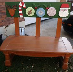 This is my christmas bench.  I love adding the different backdrops for each holiday
