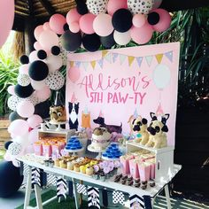 Doggy Themed Dessert Table from a Birthday Puppy Paw-ty on Kara's Party Ideas Puppy Birthday Parties, Puppy Party, Cat Birthday, Animal Birthday, Children Birthday Party Ideas, Kids Birthday Party Ideas, 3rd Birthday Party For Girls, Dog Parties, Dog Themed Parties