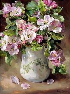 Apple Blossom, original Oil Painting by Anne Cotterill ~ published as a Greetings Card by Mill House Fine Art . Flower Vases, Flower Art, Watercolor Flowers, Watercolor Art, Paintings I Love, Flower Paintings, Guache, Still Life Art, Arte Floral