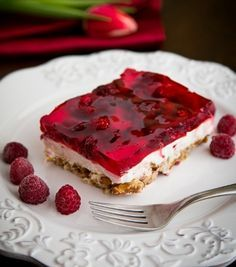 Raspberry Cream Cheese Pretzel Jello, this stuff is so good!