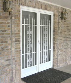 Security screen doors for double entry patio door for Screen door for double door entry