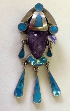 Sterling Silver and Turquoise With Carved Stone Pendant   Mexico 925  $45   Dealer #282  Lula B's  1010 N. Riverfront Blvd. Dallas, TX 75207   Like us on Facebook: https://www.facebook.com/pages/Lula-Bs-Antique-Mall/35282597866