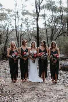 Emerald Green Bridesmaid Dresses, Summer Bridesmaid Dresses, Emerald Green Weddings, Black Bridesmaids, Wedding Bridesmaids, Different Colour Bridesmaid Dresses, Emerald Wedding Colors, Wedding Dresses, The Dress