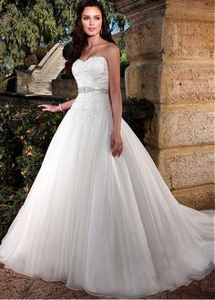 CHARMING ORGANZA STRETCH CHARMEUSE SWEETHEART NECKLINE DROPPED WAISTLINE BALL GOWN WEDDING DRESS