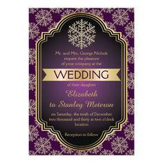 Gold, purple snowflake and frame wedding custom invites.  $2.10  #winterwedding #winterweddinginvites #winterweddinginvitations