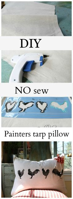 diy no sew painters tarp pillow. You can make a drop cloth pillow in no time. Actually you can make several from one tarp. Inexpensive and easy to do!