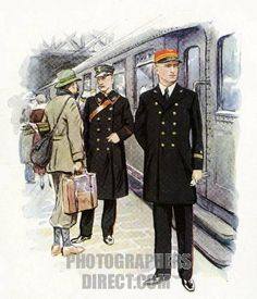 Railway Staff uniforms , 1920 30s : Dutch train conductor and railway station master . stock photo