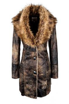 Single Breasted Fur Collar Coat