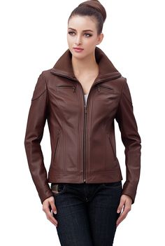"Jessie G. Women's ""Harper"" Zip Front Lambskin Leather Jacket. Check out this great style for $139.99 on Luxury Lane. Click on the image above to get a coupon code for 10% off on your next order."
