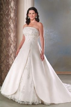 Simple plus wedding dresses named the Satin and Tulle Strapless A line  Skirt with Elegant Slirt d3ab7283c429