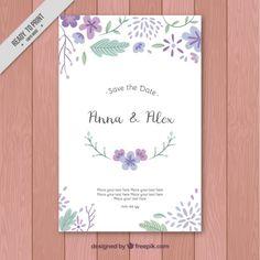 Cartão de casamento com flores desenhadas mão retro Vetor grátis