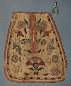 Pocket. 1740 to 1775. United States. Linen. Wool embroidery. Cotton.