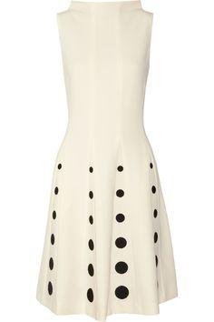 Moschino|Polka dot-embroidered crepe dress|NET-A-PORTER.COM