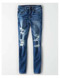 The Details Ne(x)t Level Stretch. Your jeans have never fit or felt better. Ne(x)t Level StretchOur softest, stretchiest, never-loses-its-shape denimWon't bag out. Cute Ripped Jeans, Ripped Jeans Outfit, Ae Jeans, Cropped Skinny Jeans, Jeans Pants, Jean Shorts, Holy Jeans, Blue Jeans Mens, Stylish Eve