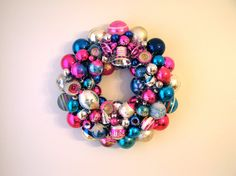 Bright pinks and blues!  Authentic Vintage Glass Ornament Holiday Wreath by AquaMarineQueen