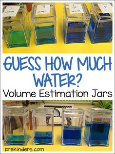 "How Much Water? Estimation Jars ""Guess How Much Water?"" Estimation Jars (from PreKinders)""Guess How Much Water?"" Estimation Jars (from PreKinders) Measurement Kindergarten, Measurement Activities, Math Measurement, Kindergarten Math, Teaching Math, Preschool Activities, Elementary Math, Math Games, Maths Eyfs"