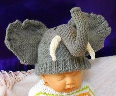 """Ravelry: Baby Big Ears Elephant Hat pattern by Christine Grant    Je trouve tous ces """"headband"""" pour bébé tellement ridicules, alors, tant qu'à faire … :D"""