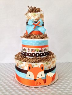 forest friends woodland theme diaper cake wiodland theme baby shower centerpiece fox diaper cake
