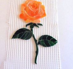 Precut Stained Glass Mosaic STEMMED ROSE Inlay Kit Tile Garden Stone…