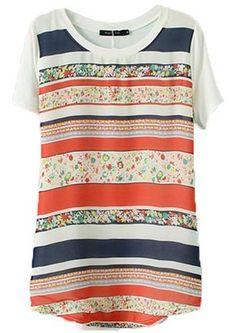 Orange Short Sleeve Striped Floral T-Shirt